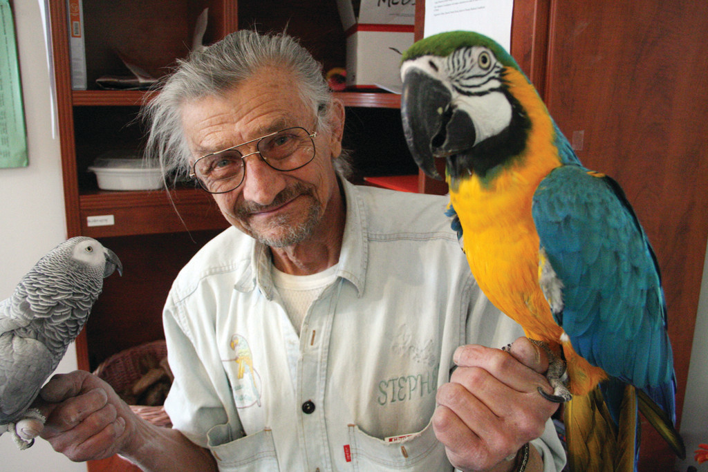 FEATHERED FRIENDS: Stephen Lazick with an African gray and macaw, two of more than 60 birds at the Lazicki's Bird House and Rescue on West Shore Road.