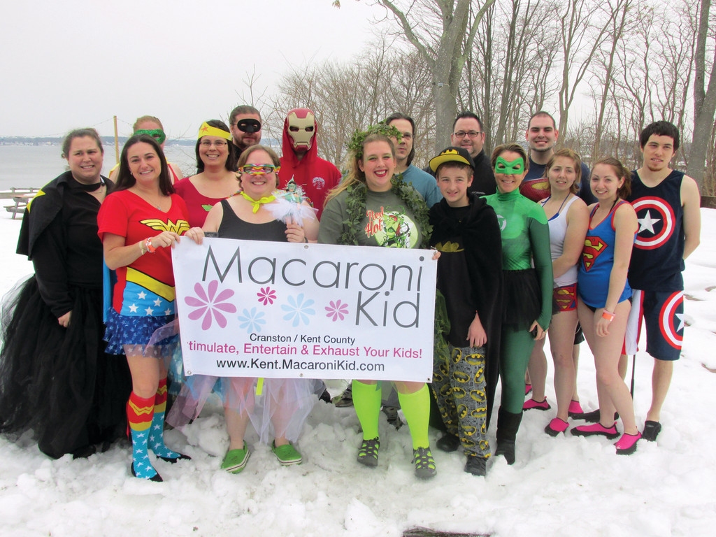 RAISED THE MOST: This colorful-clad group, which was led by Rhiana Menning and Heather Wirth, was nicknamed Super Heroes and Macaroni Kids and raised a record-setting total of $4,345 for Saturday's Rhode Island Polar Dip at Oakland Beach.