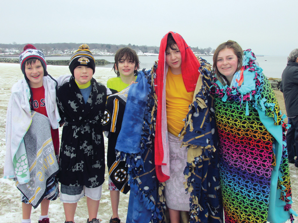 PACK FROM HOXSIE SCHOOL: Part of the Hoxsie Elementary School's Pajama Party Pack that raised $683 for Saturday's Polar Dip included Emily, Zach and Ben Sayles, RJ Ryan and Tyler Bouressa.