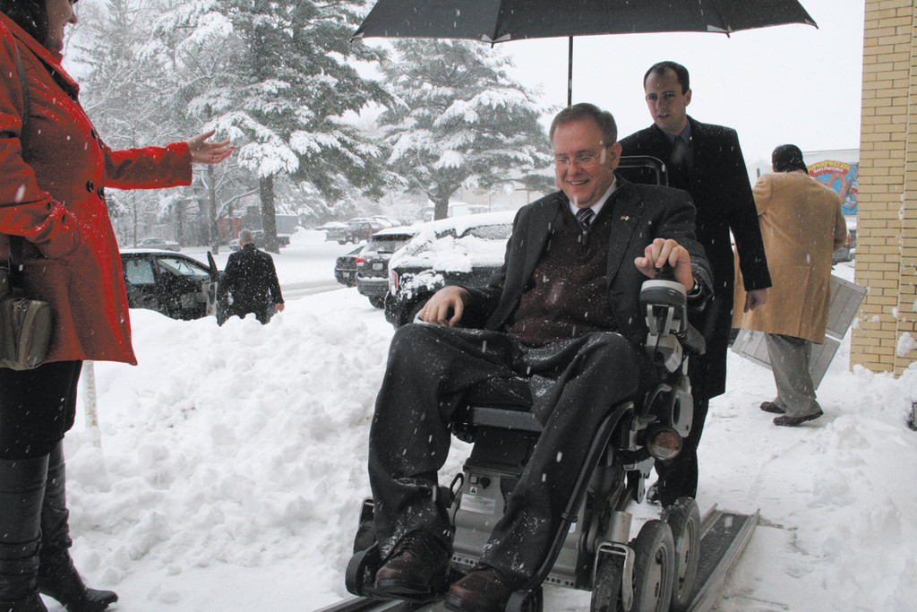 FOODIE EVEN IN A SNOWSTORM: On a drive to promote the state�s food industry, Congressman Langevin didn�t let Tuesday�s snow stop him from visiting Warwick Ice Cream.