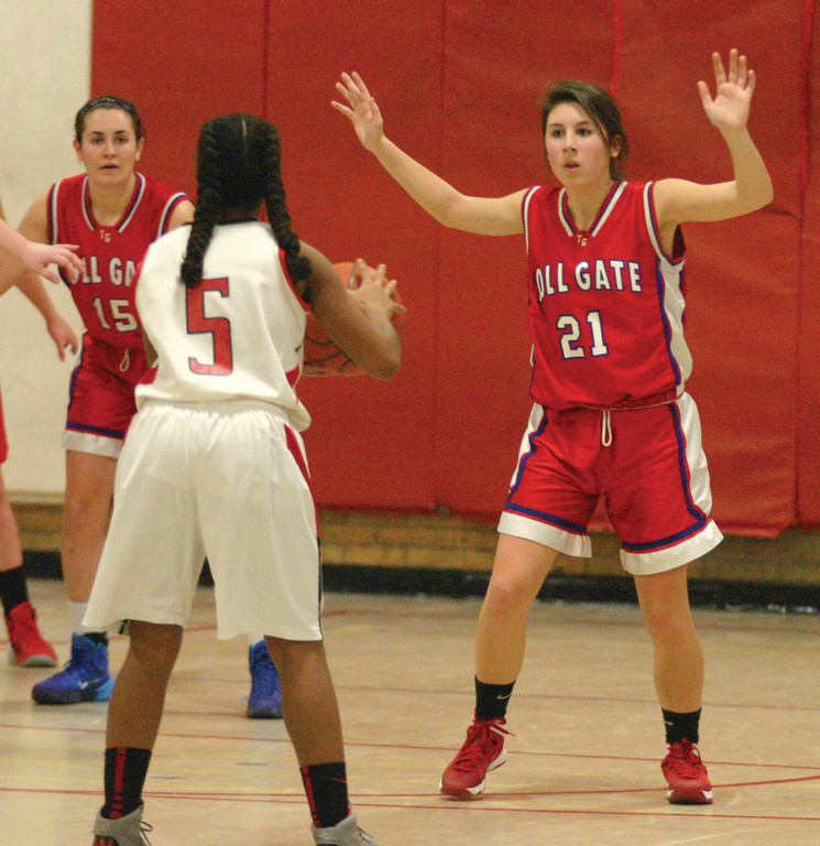 ONE-ON-ONE: Toll Gate�s Jackie Falso puts her hands up on defense in Monday�s game.