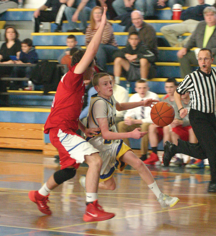 SLICING: Vets' Josh Muto tries to get to the basket during Sunday's win against Toll Gate.