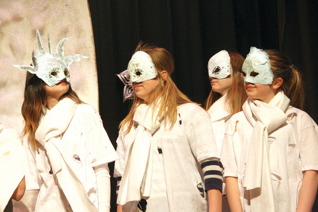 FROZEN FACES: The snow children line up in the Winman Drama Club performance of The Snow Queen and the Goblin.