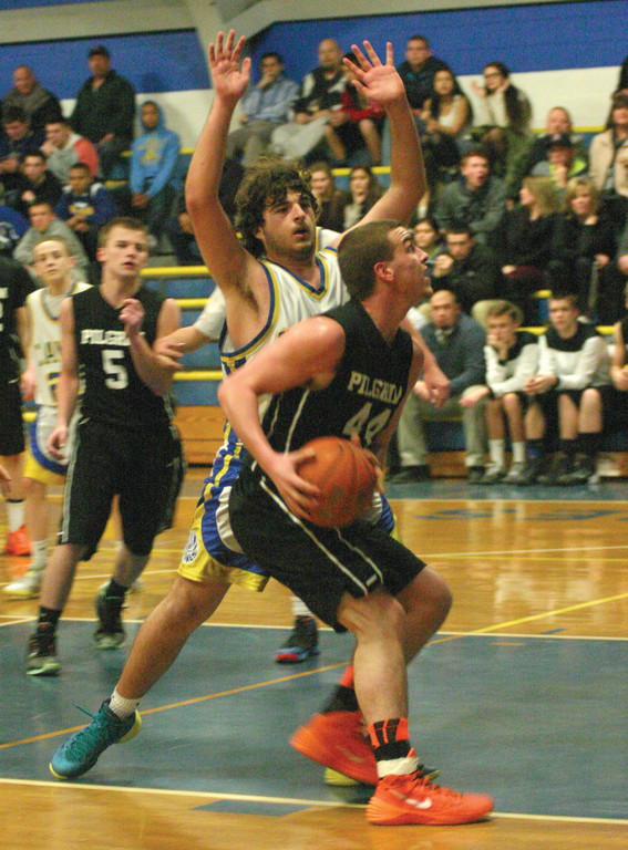 Pilgrim's Ryan Morries tries to find room inside against Ryan Wirth.