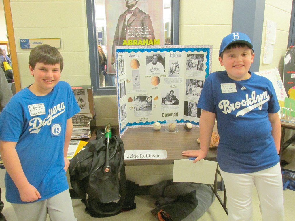 PLAY BALL: There's no question about their favorite team in this display done by Connor Kenney, left, and Kyle Thompson on Jackie Robinson, the first African American to play in Major League Baseball for the then Brooklyn Dodgers.