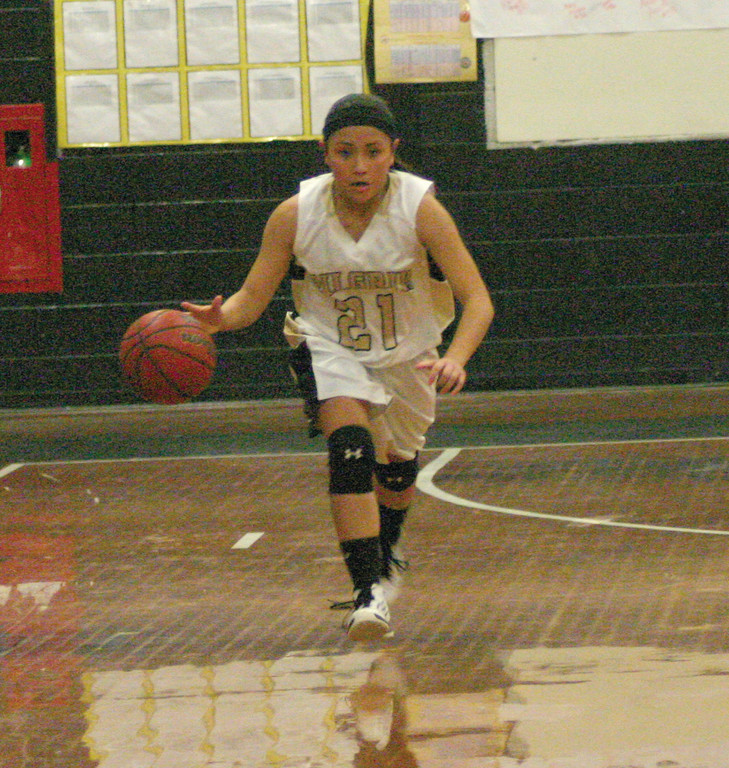 BRING IT UP: Clare Birney heads up the court for Pilgrim in Tuesday's game.