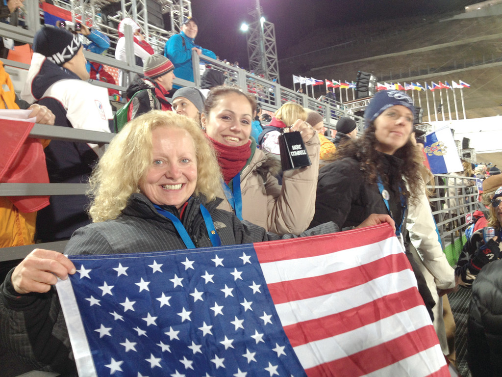 GO USA!: Botsford and fellow Olympic fans cheer on Team USA in Sochi.