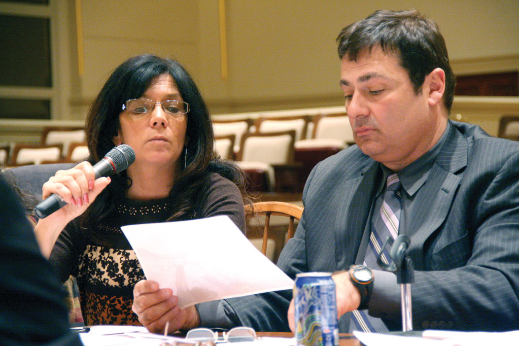 MAKING HER CASE: Debra Vita, accompanied by attorney K. Joseph Shekarchi, appeared before the Zoning Board of Review Tuesday. The board denied her request for a variance of parking requirements that would have allowed her to provide live entertainment at Biki's Gathering Spot on West Shore Road and Oakland Beach Avenue.