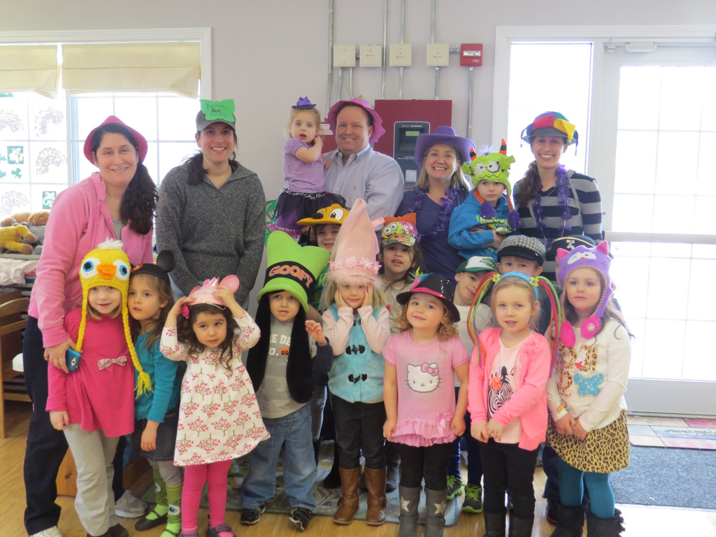 READY TO DANCE: Students and teachers from The Learning Garden's Preschool program in Warwick Neck put on their craziest hats for the Matty Hatty Dance-A-Thon last Thursday to raise money for The Matty Fund.