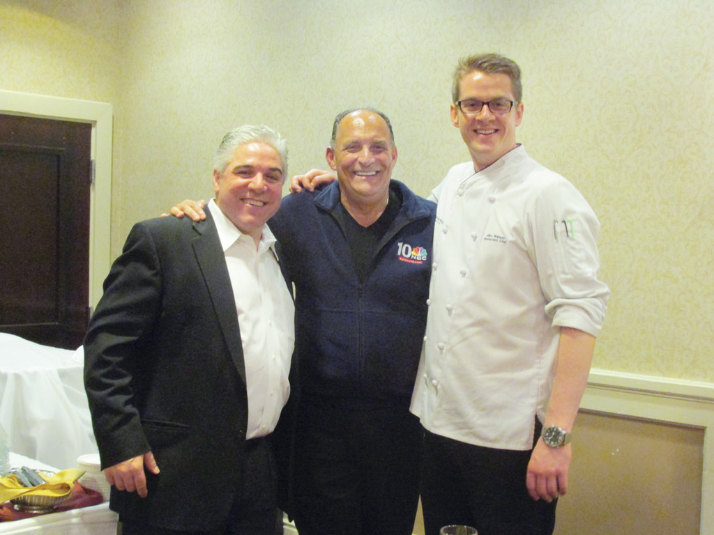 LIGHT MOMENT: Dean Scanlon (left), who owns L'attitude Modern Eatery and is co-chair/co-founder of the Rotary Club of Warwick's Gourmet Gala, enjoys a lighter moment while thanking Executive Chef Frank Terranova and Radisson Hotel Chef/Restaurant manager Michael Watson for all their help and support during last Wednesday's record-setting event.