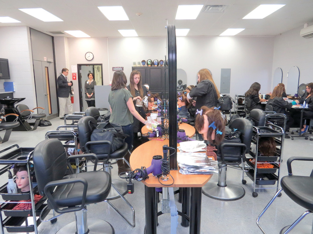LIKE THE PROS: The Cosmetology program at the Career Center officially began practicing in their professional-style salon at the start of 2014. For the first half of the school year, the 18 students were working out of an empty computer lab in the facility.