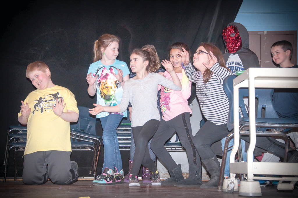 STAGE FRIGHT: Gary Dombeck, Emily Gallant, Isabella Zuller, Savannah Mattera, Kendra Lafontaine and Owen Thibodeau are prepared to show off their acting chops during three performances of their original play �The Googies are Coming� on Friday with the rest of Holliman Elementary School�s Performing Arts Club.