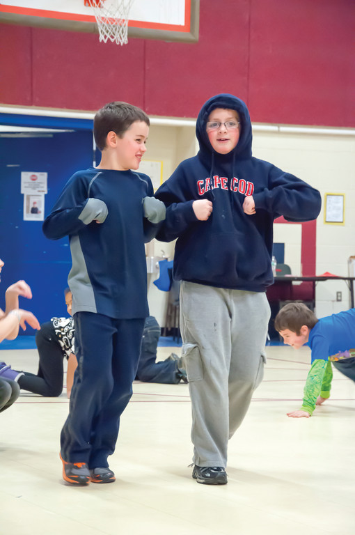 "WALKING THE WALK: Owen Thibodeau and Dean Cluley get into character during rehearsal for ""The Googies Are Coming."""