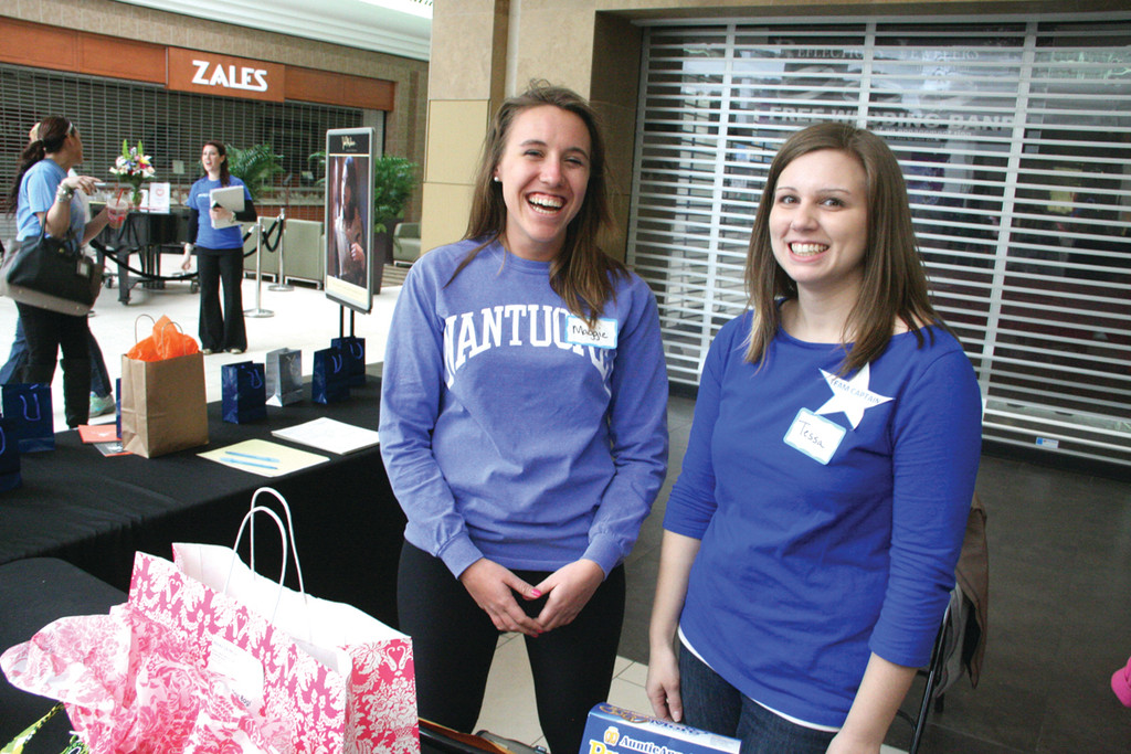 BOOSTING DONATIONS: Maggie Chaquette and Tessa Tomassini, who was the recipient of a wish almost 20 years ago, sold raffle tickets during the two-hour mall walk.