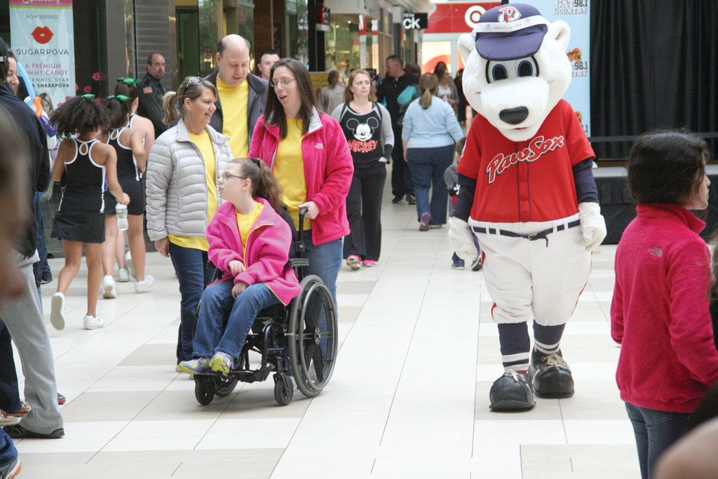 Walkers at the third annual Walk for Wishes Sunday at Warwick Mall included several celebrities, including Paws, the PawSox mascot.