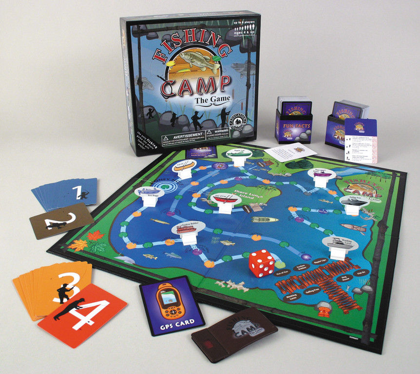 Fishing Camp is a new board game. You answer fishing trivia questions and race your opponents back to the dock.