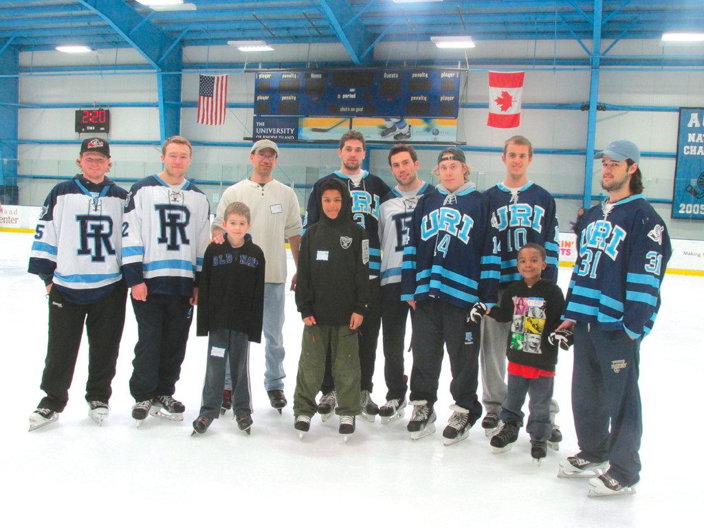 RHODY RAMS: The University of Rhode Island hockey Rams played the role of Big Brothers Saturday in Kingston when BBBSOS hosted more than 200 children at the Bradford R. Boss Arena.