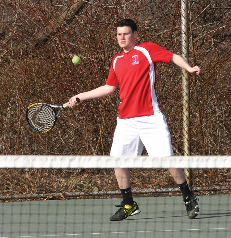Jeremy Cullen hits a shot at No. 4 singles last week against Prout.