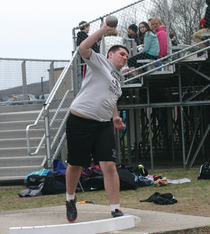 RELEASE POINT: Pilgrim�s Aaron Kirby competes in the shot put during Monday�s meet.