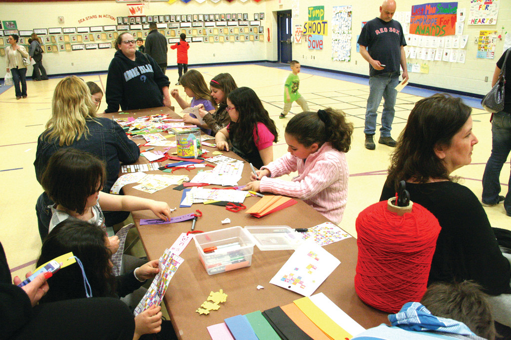Students work on crafts.