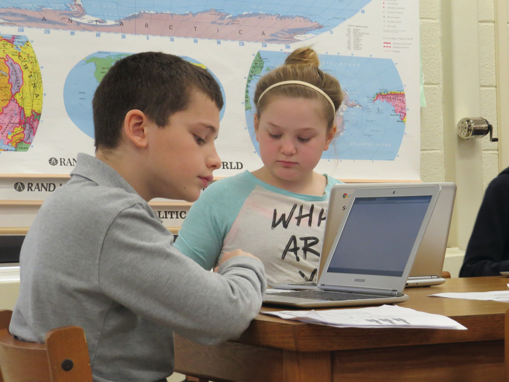 ONLINE:Fourth-grader Joey Pankowicz took part in Friday's Chromebook training, following steps to start up a practice quiz for the English Language Arts PARCC Testing.