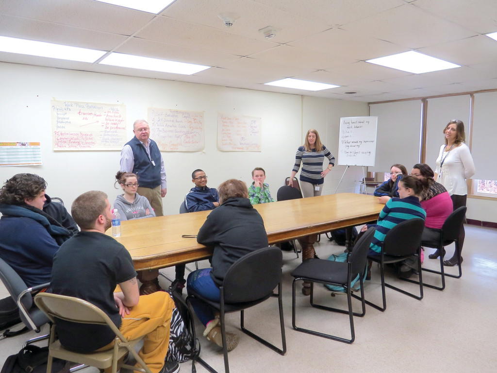 YOUTH EMPLOYMENT:  Students selected to participate in the new program at Pilgrim discuss options at a recent meeting.