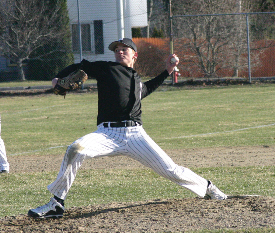 ON TARGET: Mike Broccoli delivers a pitch for Pilgrim in Thursday�s win over Barrington.