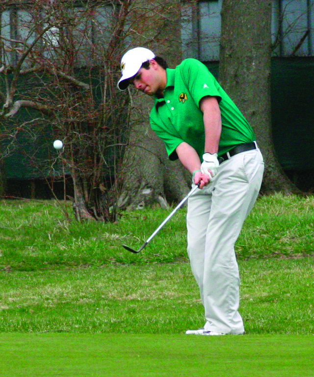 TO THE GREEN: Hendricken�s top golfer, senior Justin Matrone, chips onto the green at Warwick Country Club in Monday�s season-opening match.
