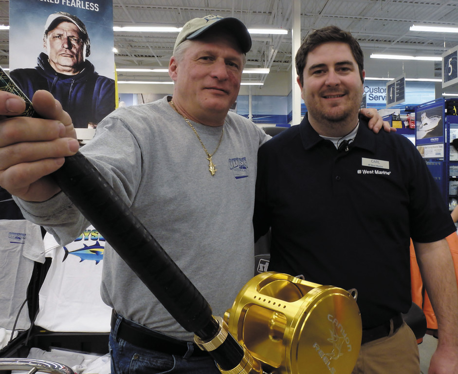Wicked Tuna star Capt. Ralph Wilkins with West Marine store manager, Carl Hjerpe at the Bald Hill Road, Warwick store grand opening this weekend.