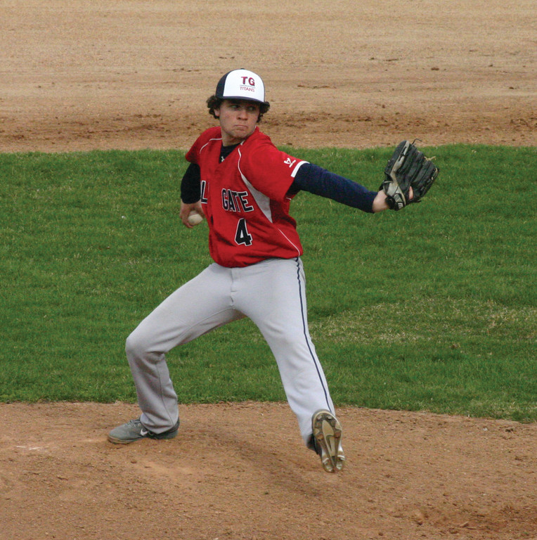 ON THE HILL: Kyle McGuire delivers a pitch for Toll Gate during  Friday's 10-1 loss to North Kingstown.