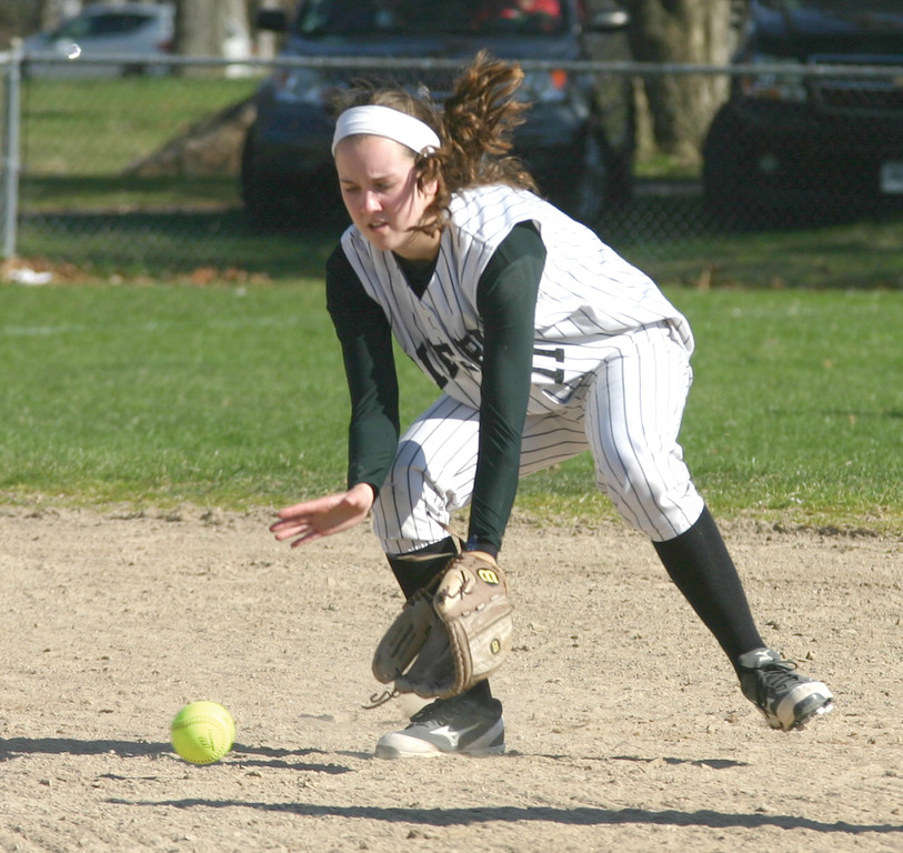 SCOOP: Pilgrim shortstop Jane Dwyer gets in front of a ground ball during Monday's win over Burrillville.