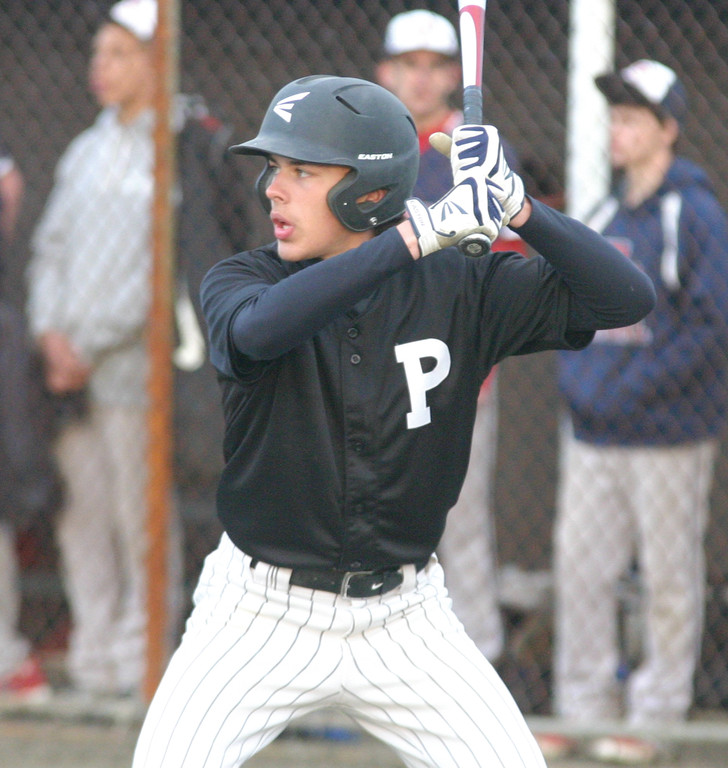 SWINGING: Pilgrim's Joe Paliotte stands in during Saturday's game with Toll Gate. Paliotte had three hits and three RBI i n a 12-2 victory.