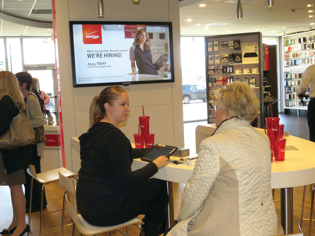 VERIZON CLASSROOM: An added feature of the Smart Store is a workshop area where customers can take part in scheduled classes to learn how to better use their phones, tablets or other devices. They can also schedule a time to come in and get some help with their devices.