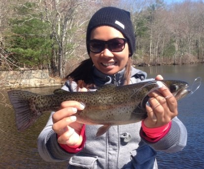 Trout fishing good: Molly Ean of Providence, an associate at Ocean State Tackle, caught this trout over the weekend at a small pond in Exeter.