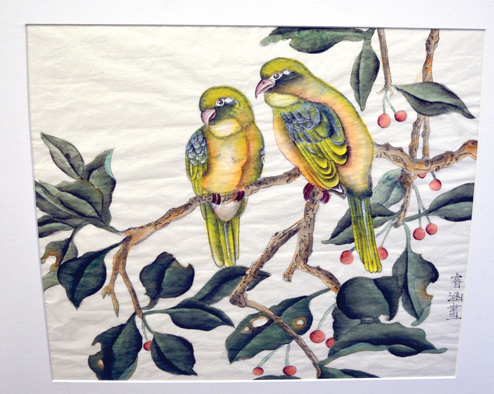 SPRING LOVE BIRDS: This work by Ruihan Xia, a student at Rocky Hill School, placed second in the annual arts competition sponsored by Senator Jack Reed.
