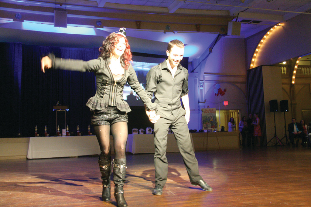 THE RINGLEADER: Rosebud Salon owner Doreen Ise won over the crowd with her ringleader ensemble and sassy performance with pro dancer Ryan Burniston.