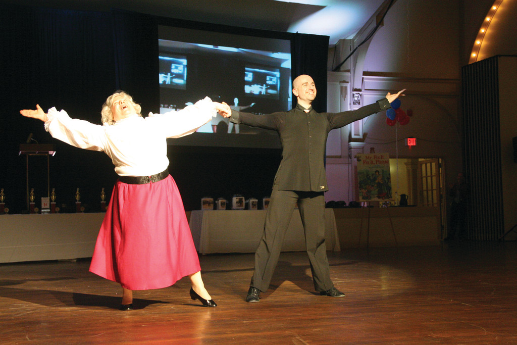 OUR FAIR LADY: Jane Calderara Kratsch of Coastway Credit Union easily stole the audience�s hearts, and the Most Entertaining award, with her �My Fair Lady� performance with Josh Morgenstein.
