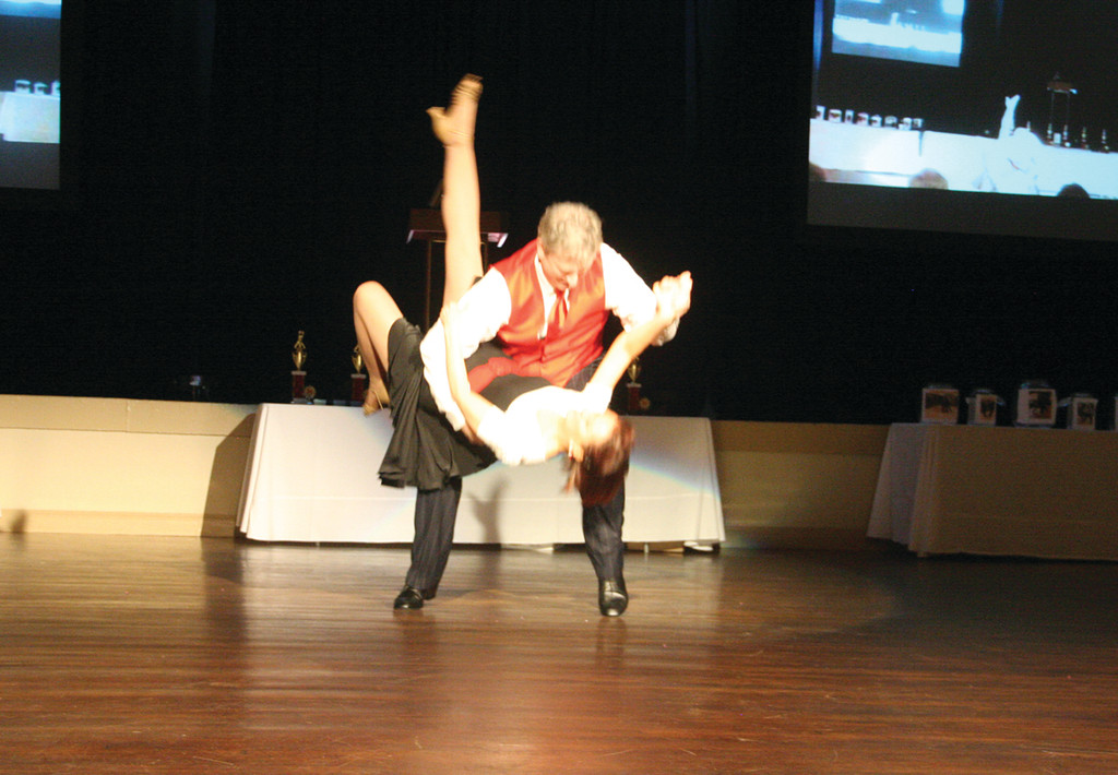 STEALING THE SHOW: Steve Donovan of Lite Rock 105 performed a great swing number with his partner Kathy St. Jean.