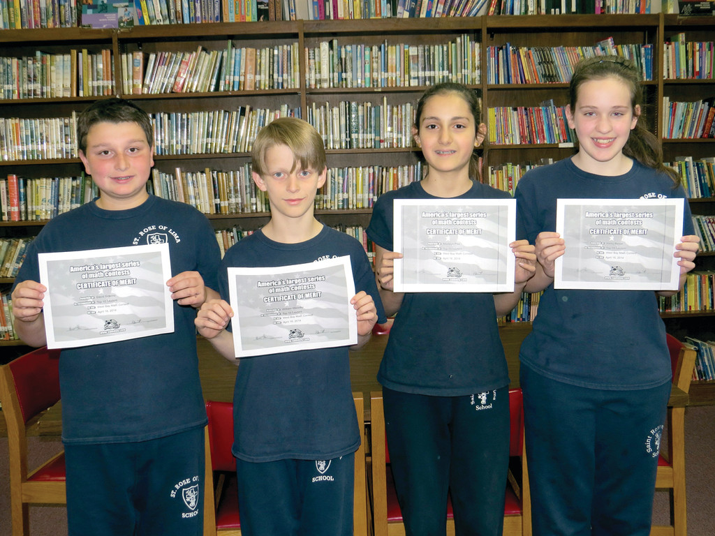 dents in Rhode Island, St. Rose of Lima School sixth graders David Gravino, Will Walaska, Maddy Pike and Haley Besse all placed in the Top Ten for a Sumdog math contest. Sumdog is an educational website used as a voluntary math enrichment tool for the sixth graders at St. Rose School.