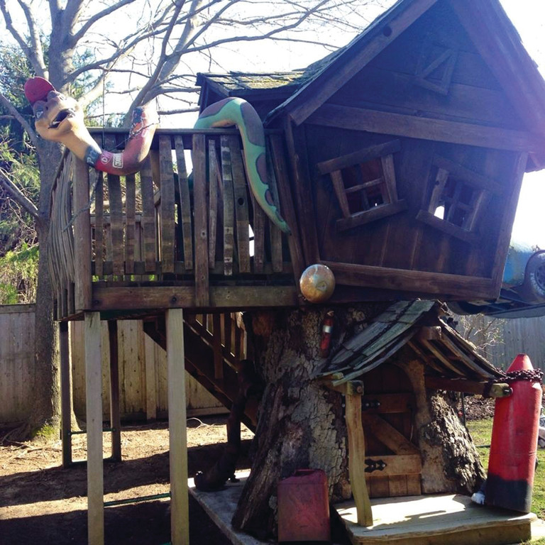 GOING TO A NEW HOME: Anya Martira is looking for a way to remove this one-of-a-kind tree house from her backyard to donate it to Warwick's Totally Kids, the daycare attended by her late friend's son.