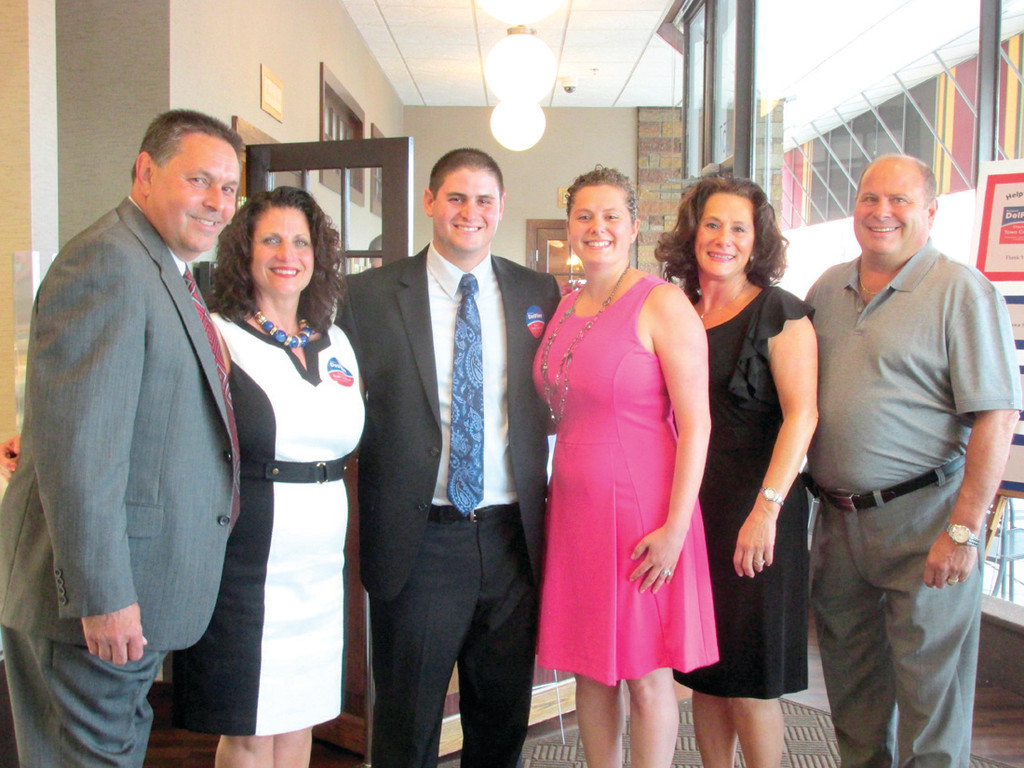 FAMILY FORUM: Richard DelFino III (third from left) candidate for the Johnston Town Council, and his wife Arianna are joined by their parents Richard Jr. and Debra DelFino and Toni and John Spicola during last Monday night's fundraiser.