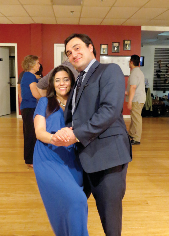 LEARNING THE RIGHT STEPS: In preparation for their Aug. 10 wedding, Gina Consolo and James San Giovanni have had a great time learning a variety of dance steps during private and group lessons at Fred Astaire Dance Studio in Warwick.