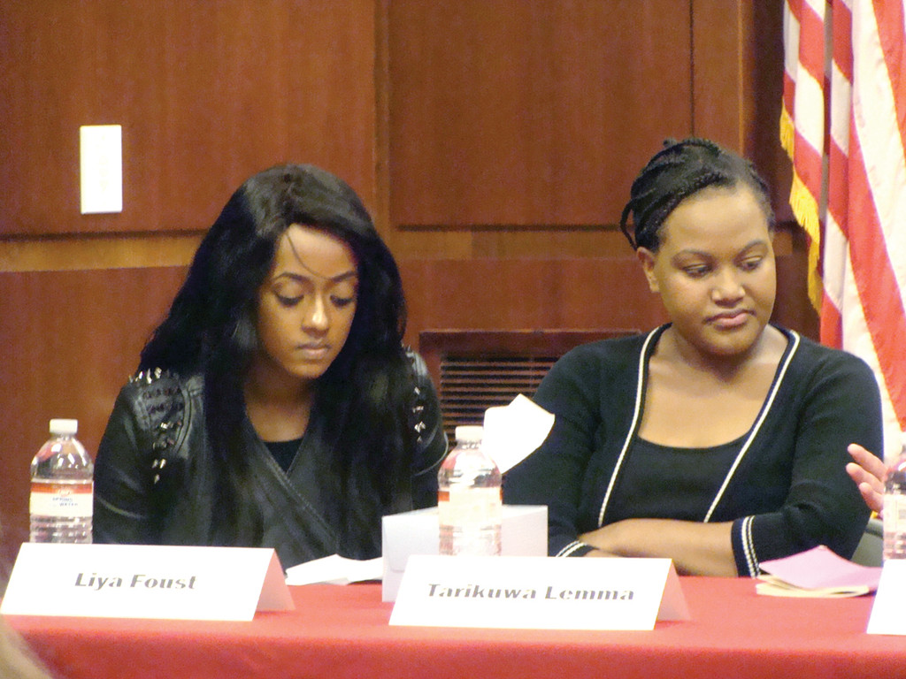 VICTIMS OF RE-HOMING: Liya Foust and Tarikuwa Lemma emotionally shared the atrocities from their experiences with re-homing to humanize the issue of re-homing for Congressman Langevin's panel discussion.