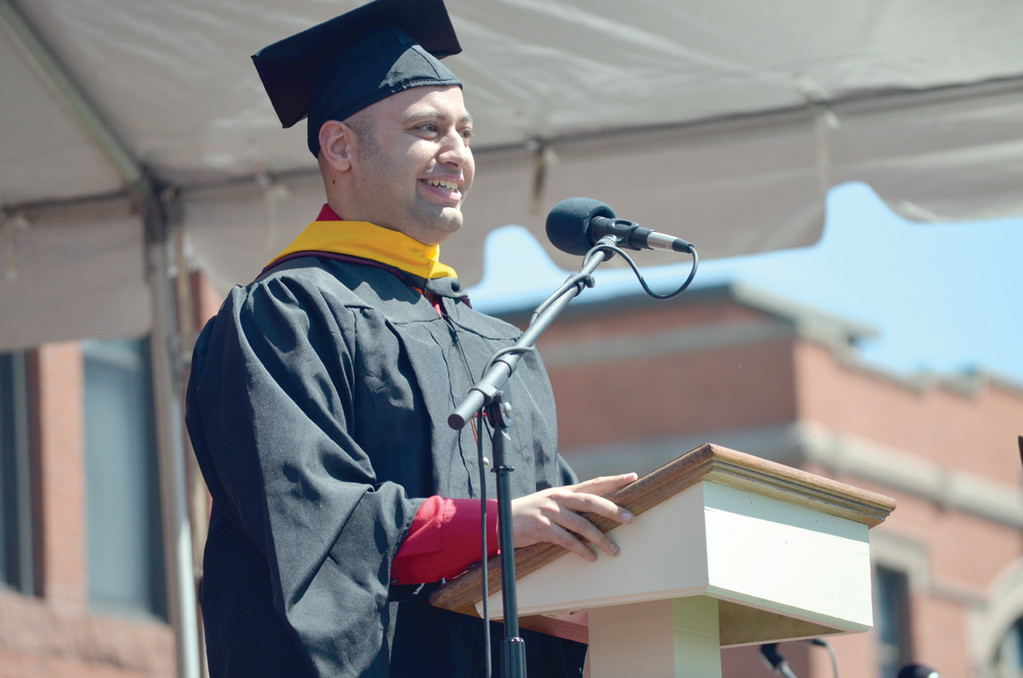 AT SPRINGFIELD COLLEGE: Joshua Schupack delivers the address at the college�s  Baccalaureate ceremony May 17.