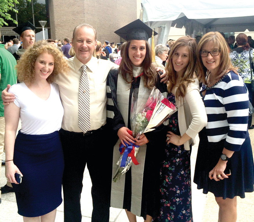 CAUSE TO CELEBRATE: The Petrone family gathers during Elaina's graduation from the University of Pennsylvania last month. Pictured, from left, are Sondra, Lenny, Elaina, Gianna and Bernadetta.