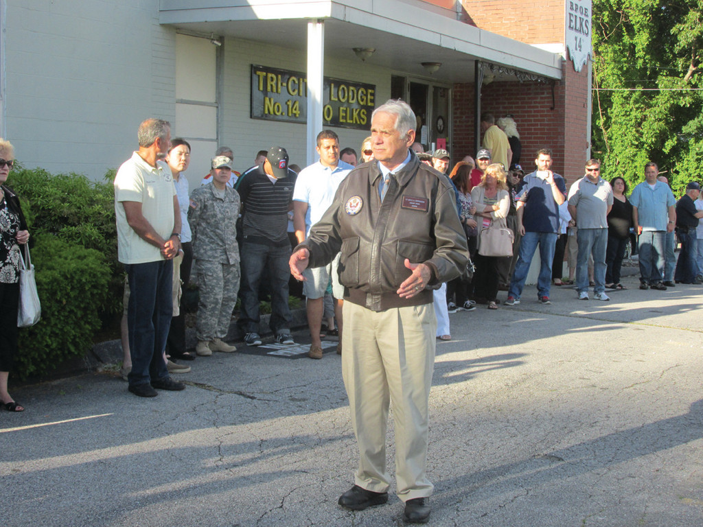 REMARKS: Retired Lt. Gen. Reginald A. Centracchio addresses a crowd of more than 200 in front of the Tri-City Elks Lodge in Warwick during last Friday�s Veterans Appreciation Day celebration that included past and present military.