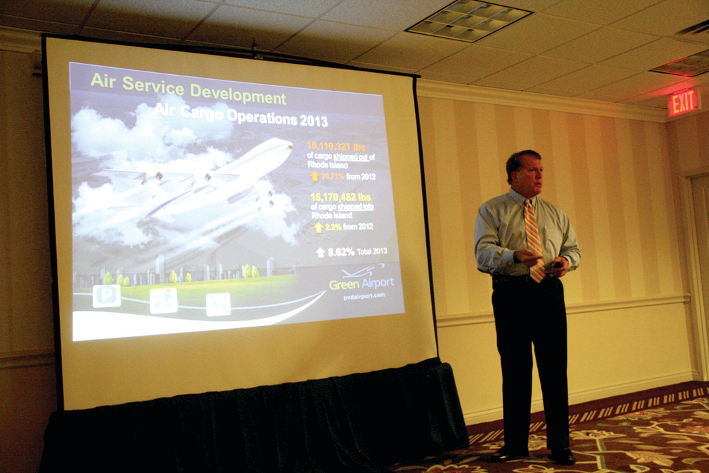 FOCUS ON AIR SERVICE: Kelly Fredericks outlines plans to grow passenger and cargo traffic at Green Airport at a stakeholders meeting Tuesday.