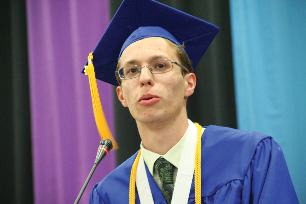 "SALUTATORIAN: Szabolcs Kiss addresses his classmates and tells them, ""You all look so beautiful."" He saluted Jacob Beaudry, a classmate who passed away three years ago."