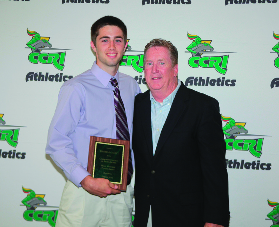 NEXT STEP: Ex-CCRI catcher Tom Gavitt poses with CCRI head coach Ken Hopkins after Gavitt won the CCRI MVP award in 2012. Gavitt was drafted by the Oakland A's over the weekend.