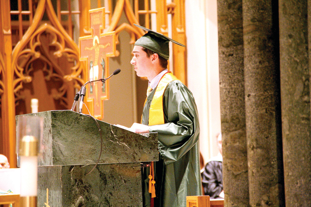 VALEDICTORIAN: Nick Garder opened his speech joking about his own fear of writing a speech. He went on to make a memorable speech that touched upon popular culture, the iPhone game 2048 and the new �Anchorman� movie, while relying also on classic literary figures such as Maya Angelou.